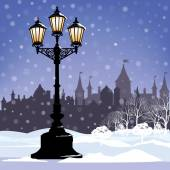 Christmas Winter Cityscape with luminous street lantern — Stock Vector