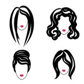Hair styly set. Woman profiles — Stock Vector