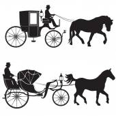 Carriage with horse. — Stock Vector