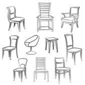 Chair, armchair, stool Furniture set — Stock Vector