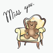 Miss you card with bear — Stock Vector