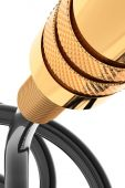 Audio jack connector gold — Stock Photo