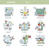 Line school icons — Stock Vector