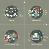 Startup, management, internet marketing, graphic design — Stock Vector