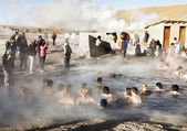 People bathe in geyser thermal water, Chile. — Stock Photo