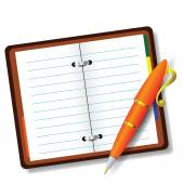 ペンとノート — ストックベクタ