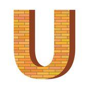 Brick letter U — Stock Vector