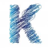 Sketched letter K — Stock Vector