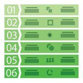 六つのステップを持つビジネス テンプレート — ストックベクタ