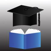 Graduation cap and book — Stock Photo
