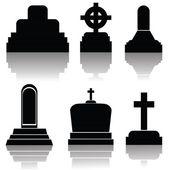 Set of gravestone silhouettes — Stock Photo
