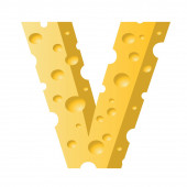 Cheese letter V — Stock Photo