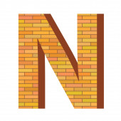 Brick letter N — Stock Photo