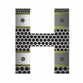 Perforated metal letter H — Stock Photo