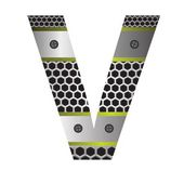 Perforated metal letter V — Stock Photo