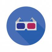 3d glasses flat icon — Stock Photo