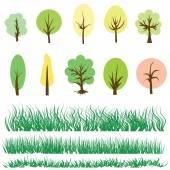 Árboles y hierba verde — Vector de stock