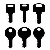 Keys Silhouettes Icons — Stock Vector
