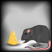 Rat and Cheese — Stock Vector