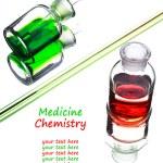 Chemistry laboratory glassware with colour liquids in them  — Stock Photo #52617643