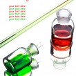 Chemistry laboratory glassware with colour liquids in them — Stock Photo #52617645