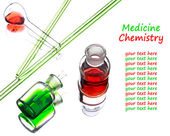 Chemistry laboratory glassware with green and red liquids in the — Stock Photo