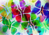 Multicolored butterflies painted by using blowpens — Stock Photo