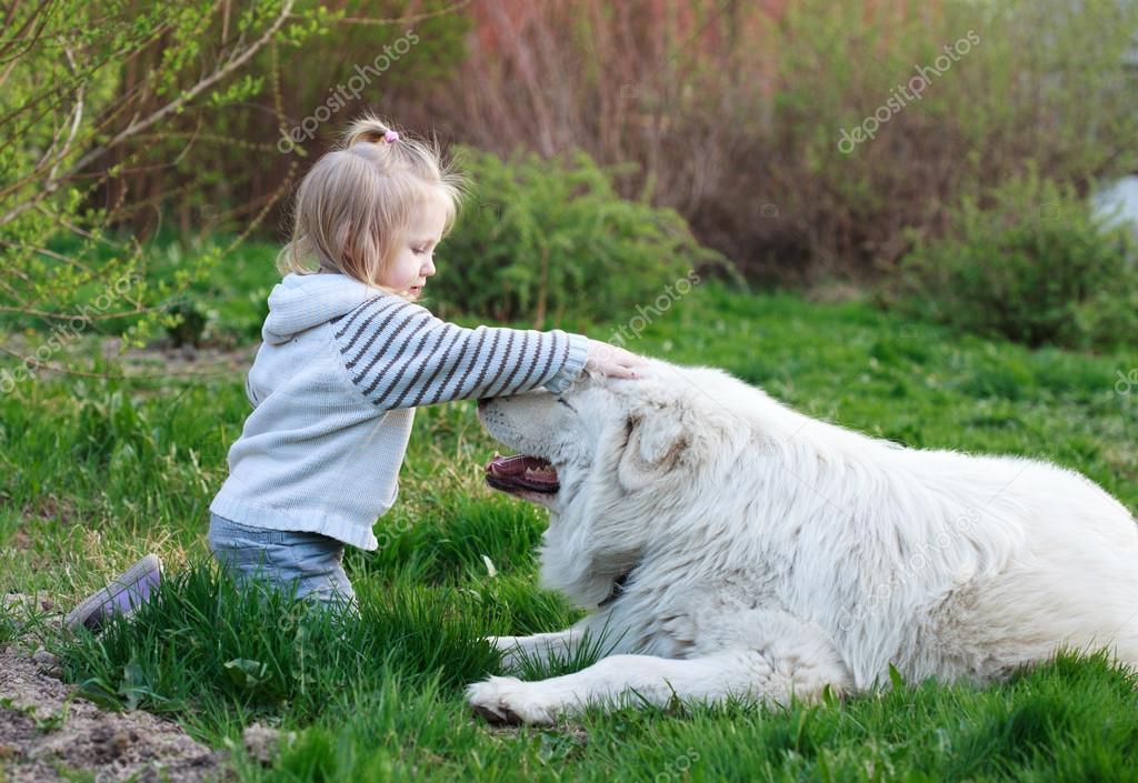 小可爱婴儿女孩玩她大的白色牧羊犬