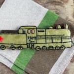 Постер, плакат: Homemade gingerbread old Soviet locomotive present for Defender