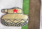 Homemade Gingerbread tank with a red star on the Defender of the — Stok fotoğraf