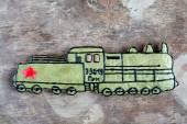 Homemade gingerbread old Soviet locomotive, present for Defender — Stok fotoğraf