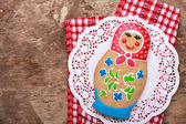 Edible homemade gingerbread as a traditional Russian nesting dol — Stock Photo