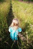Little blonde girl in dress walking on the path through field wi — Stock Photo