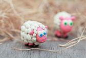 Plasticine world - little homemade white sheep stand on a farm o — ストック写真