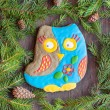 Christmas homemade gingerbread cookie in the form of an owl — Stock Photo #57322811