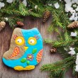 Christmas homemade gingerbread cookie in the form of an owl on a — Stock Photo #57327365