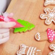 Decorating gingerbread cookies (Christmas tree) with red icing,  — Stock Photo #59258299