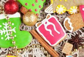 Homemade christmas painted gingerbreads (gift, boot, locomotive) — Stock Photo
