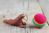 Plasticine world - little homemade brown walrus with a multicolo — Zdjęcie stockowe