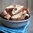 Homemade biscotti with chocolate and almonds in an old clay bowl — Stock Photo #67763979