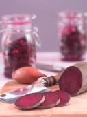 Inlaid beetroot in glasses — Stock Photo