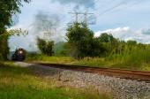 Distant steam train — Stock Photo