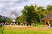 Steam train photo op — Stock Photo