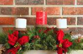 Christmas mantel decor — Stock Photo
