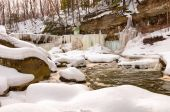 Icy Great Falls of Bedford — Stock Photo