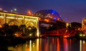 Cuyahoga bridges — Stock Photo