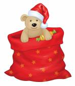 Santa Claus bag with toy bear — Stock Vector