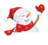 Fun snowman hiding by blank — Stock Vector