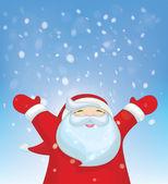 Santa Claus and snowfall. — Stock Vector