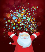 Santa Claus with colorful lights. — Stock Vector